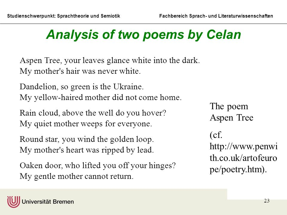Analysis of two poems by Celan