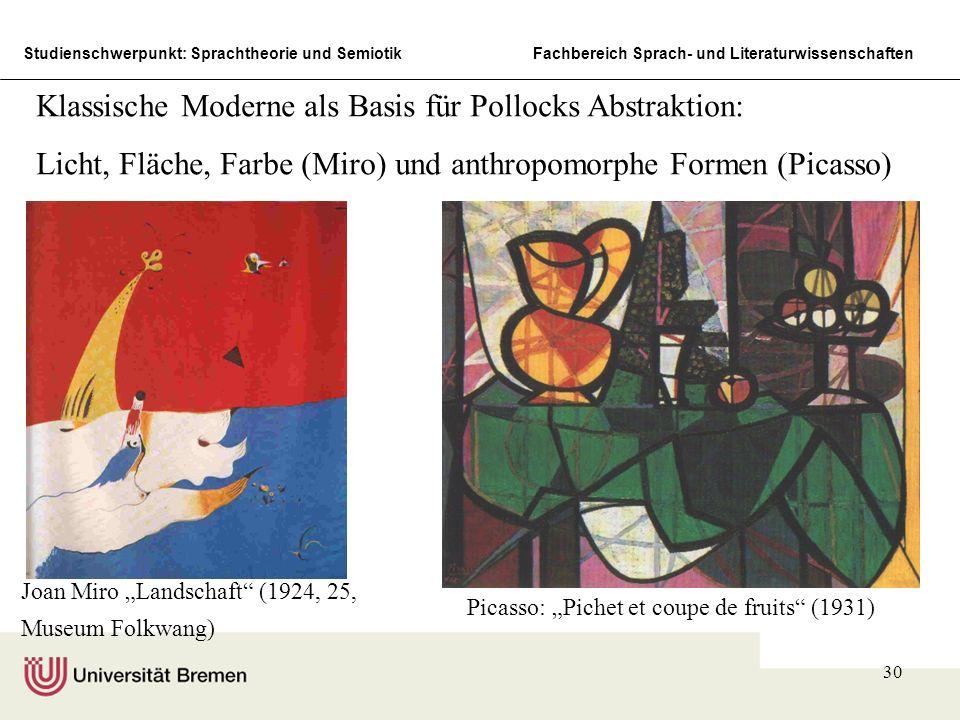 Klassische Moderne als Basis für Pollocks Abstraktion:
