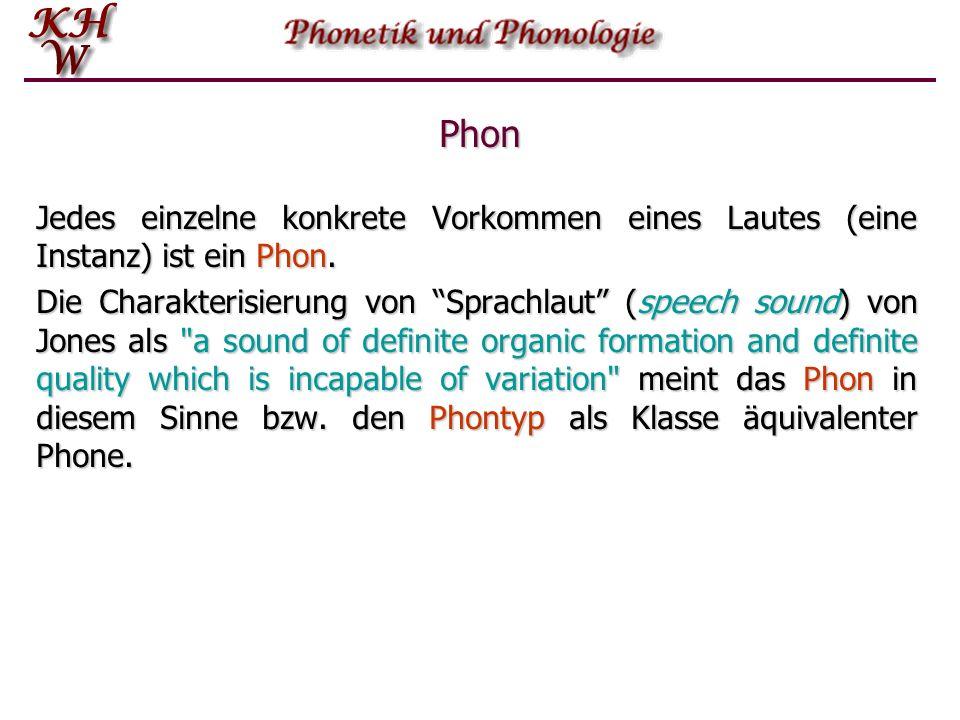 Phon Jedes einzelne konkrete Vorkommen eines Lautes (eine Instanz) ist ein Phon.