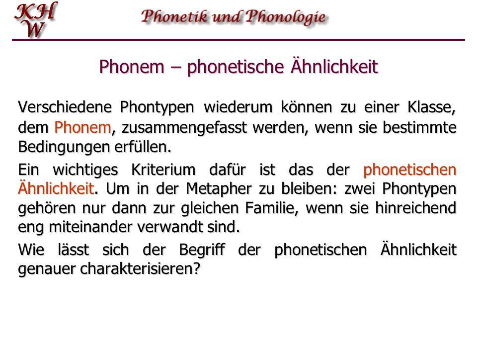 Phonem – phonetische Ähnlichkeit
