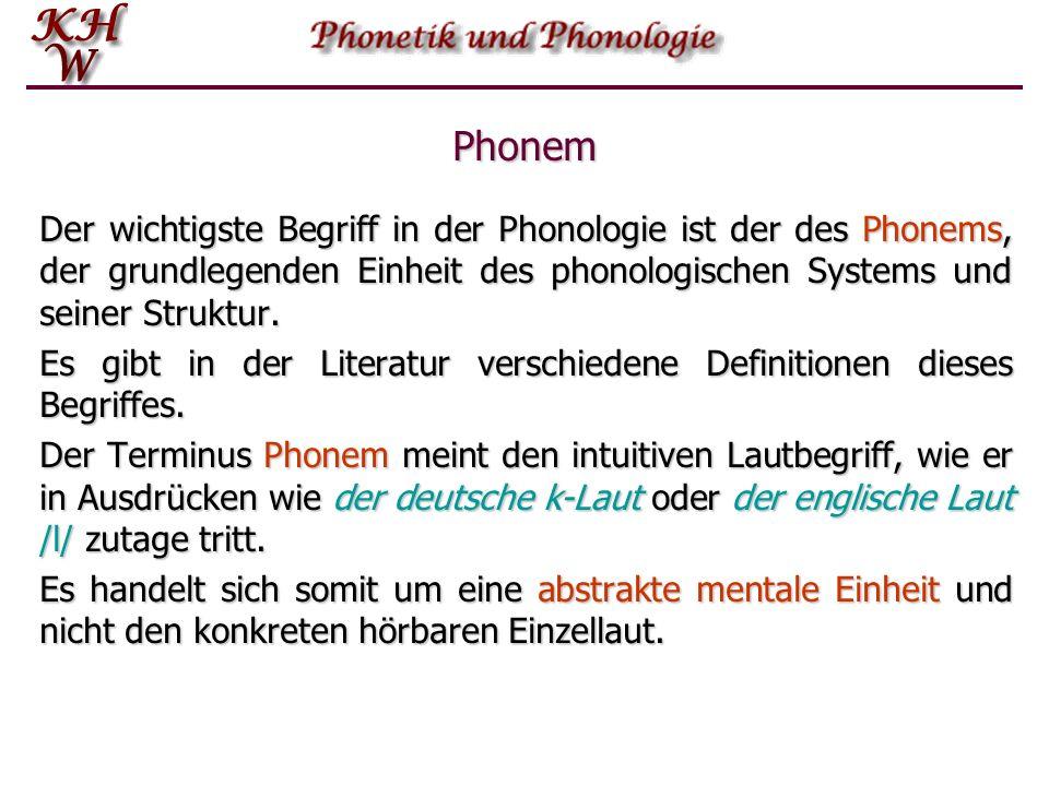 Phonem Der wichtigste Begriff in der Phonologie ist der des Phonems, der grundlegenden Einheit des phonologischen Systems und seiner Struktur.