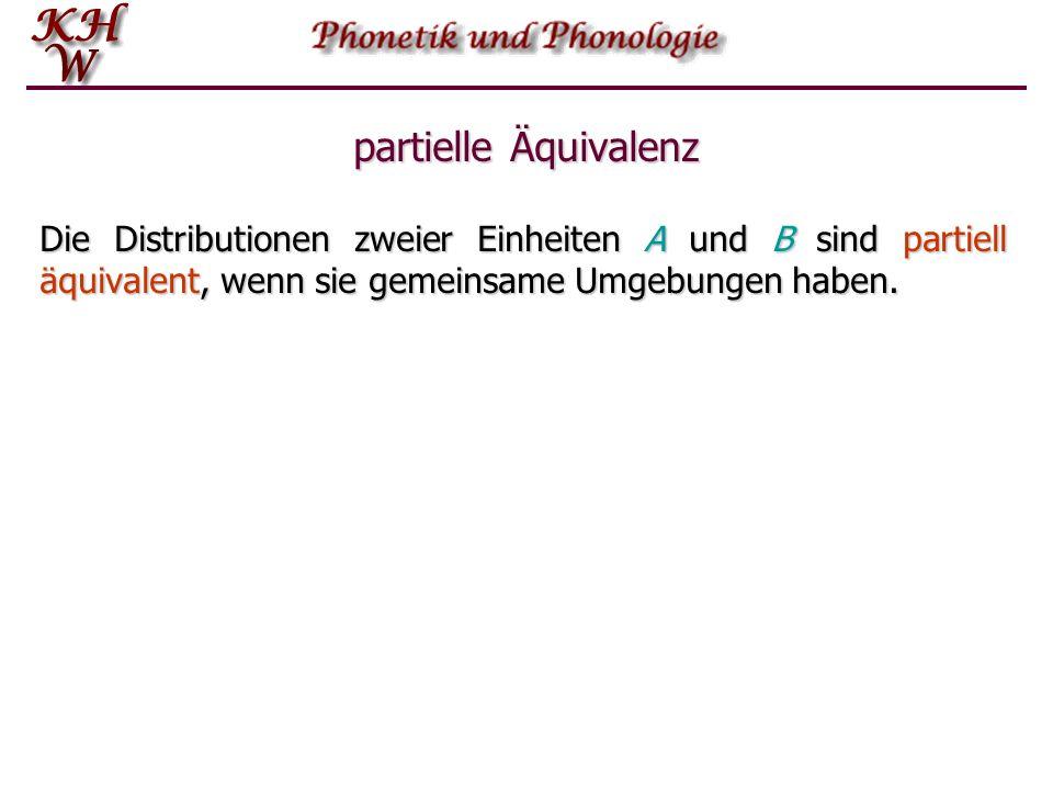 partielle Äquivalenz Die Distributionen zweier Einheiten A und B sind partiell äquivalent, wenn sie gemeinsame Umgebungen haben.