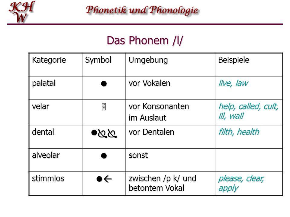 Das Phonem /l/ l  l l Kategorie Symbol Umgebung Beispiele palatal