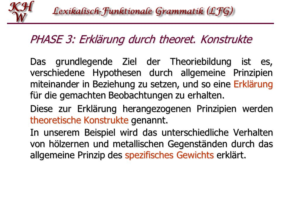 PHASE 3: Erklärung durch theoret. Konstrukte