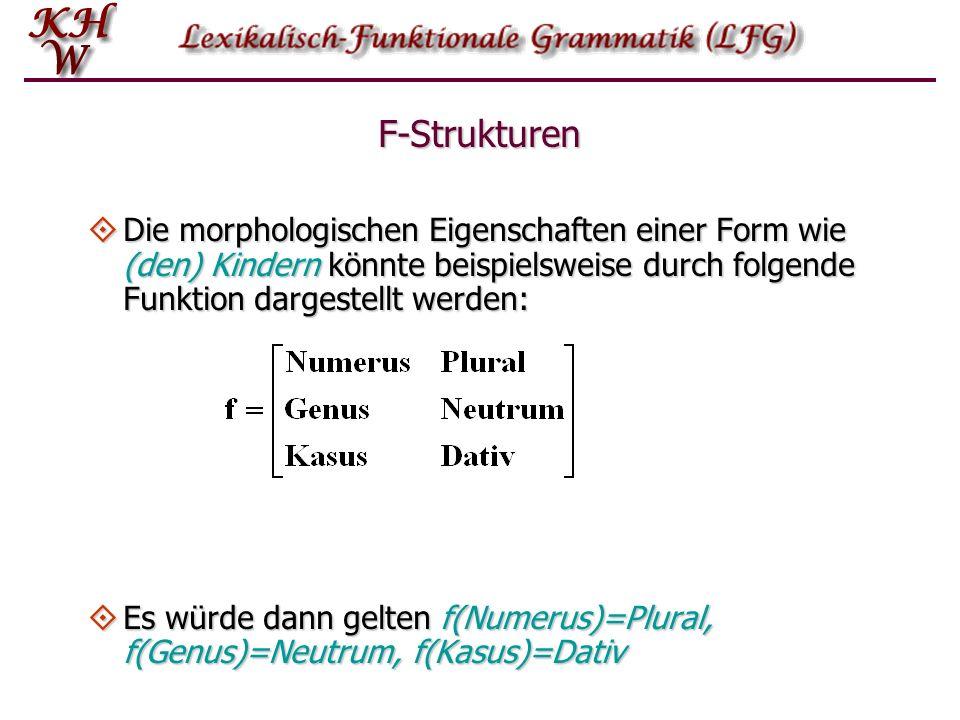 F-Strukturen Die morphologischen Eigenschaften einer Form wie (den) Kindern könnte beispielsweise durch folgende Funktion dargestellt werden: