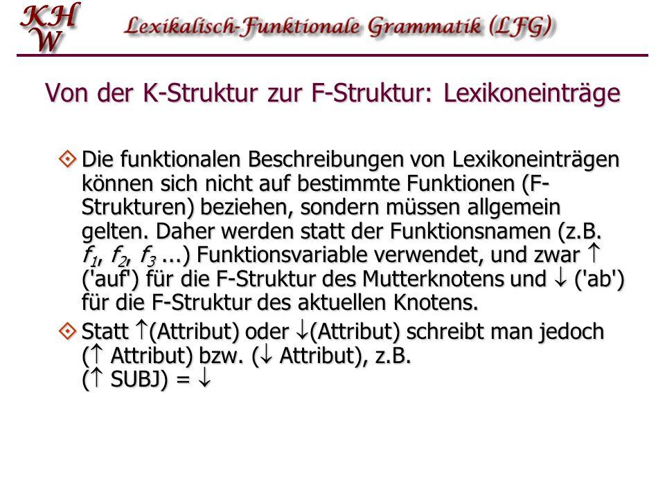 Von der K-Struktur zur F-Struktur: Lexikoneinträge