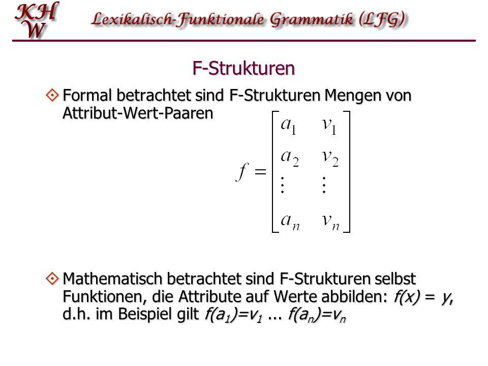 F-Strukturen Formal betrachtet sind F-Strukturen Mengen von Attribut-Wert-Paaren.