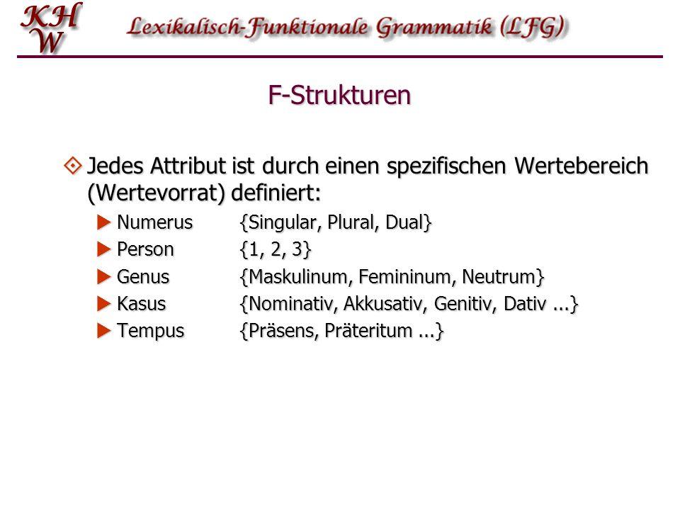 F-Strukturen Jedes Attribut ist durch einen spezifischen Wertebereich (Wertevorrat) definiert: Numerus {Singular, Plural, Dual}