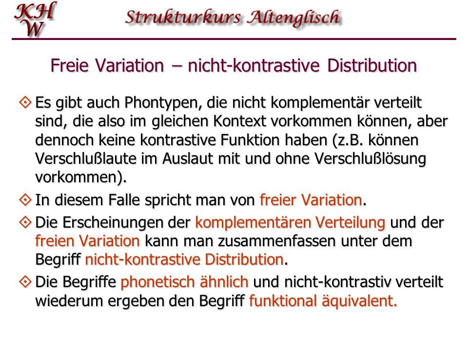 Freie Variation – nicht-kontrastive Distribution
