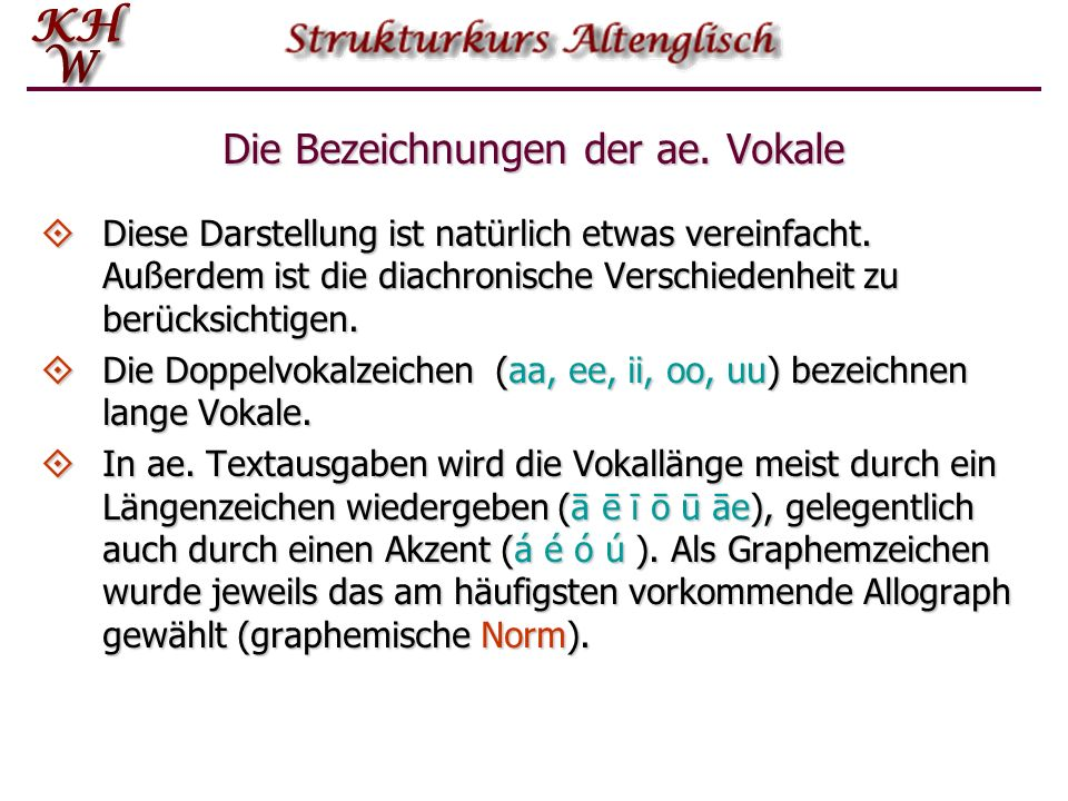 Die Bezeichnungen der ae. Vokale