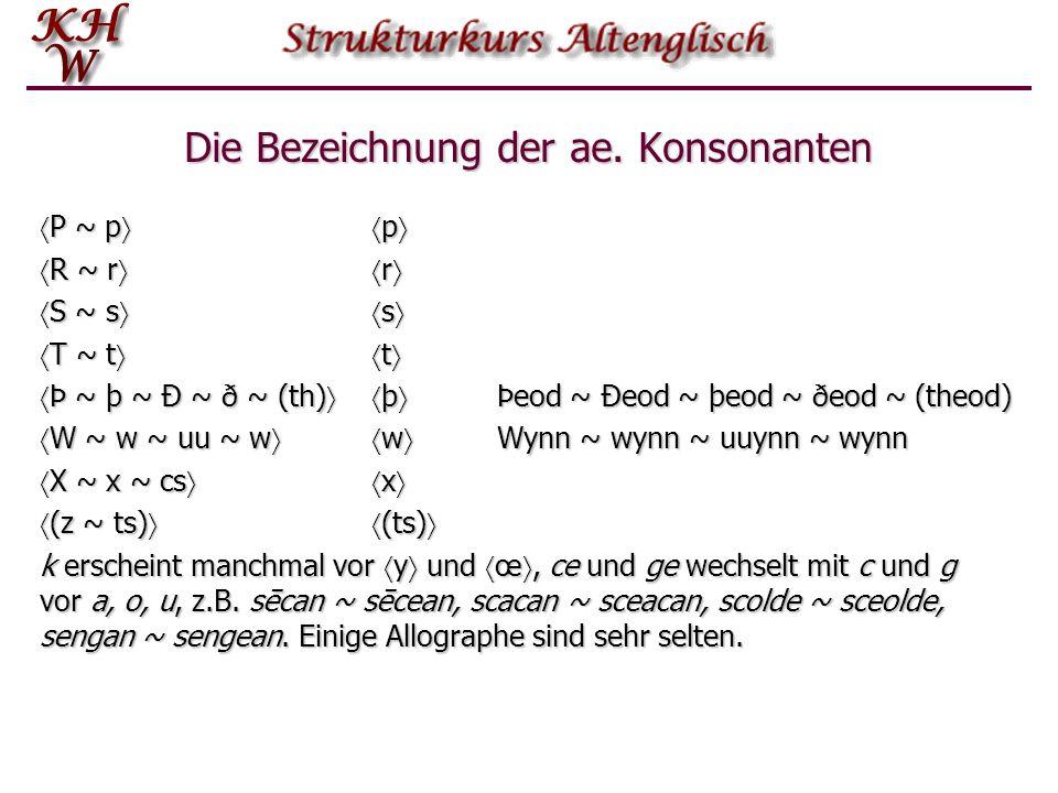 Die Bezeichnung der ae. Konsonanten