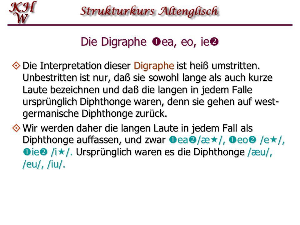 Die Digraphe ea, eo, ie