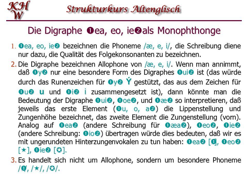 Die Digraphe ea, eo, ieals Monophthonge
