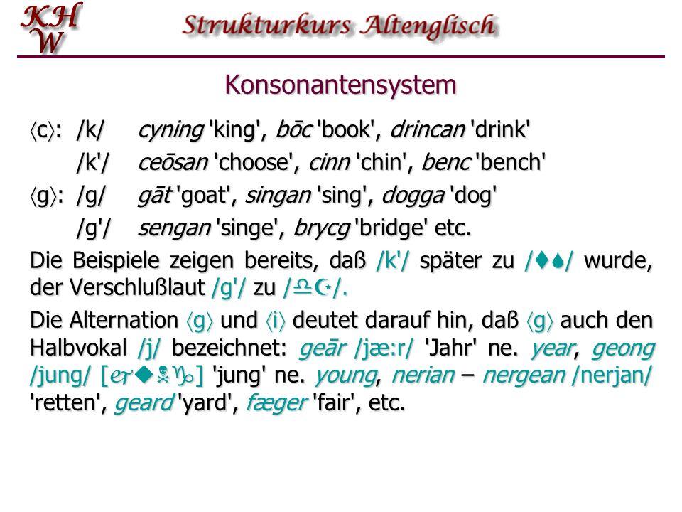 Konsonantensystem c: /k/ cyning king , bōc book , drincan drink