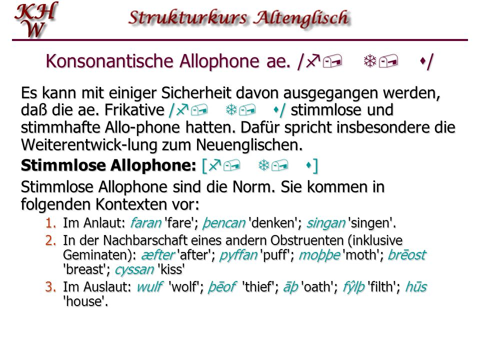 Konsonantische Allophone ae. /f, T, s/