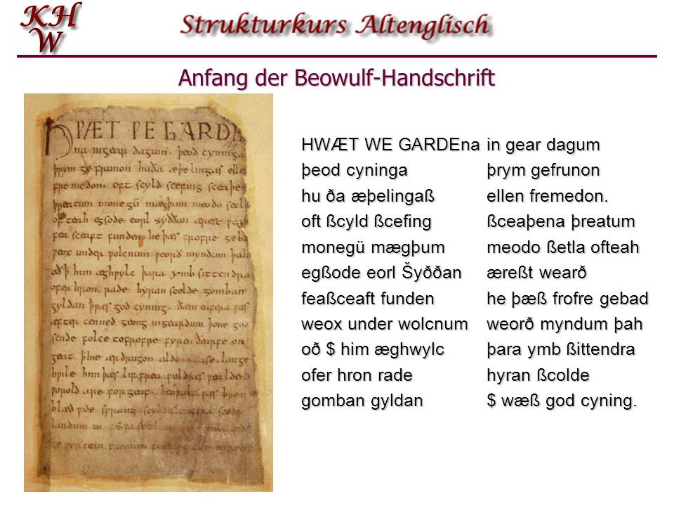 Anfang der Beowulf-Handschrift
