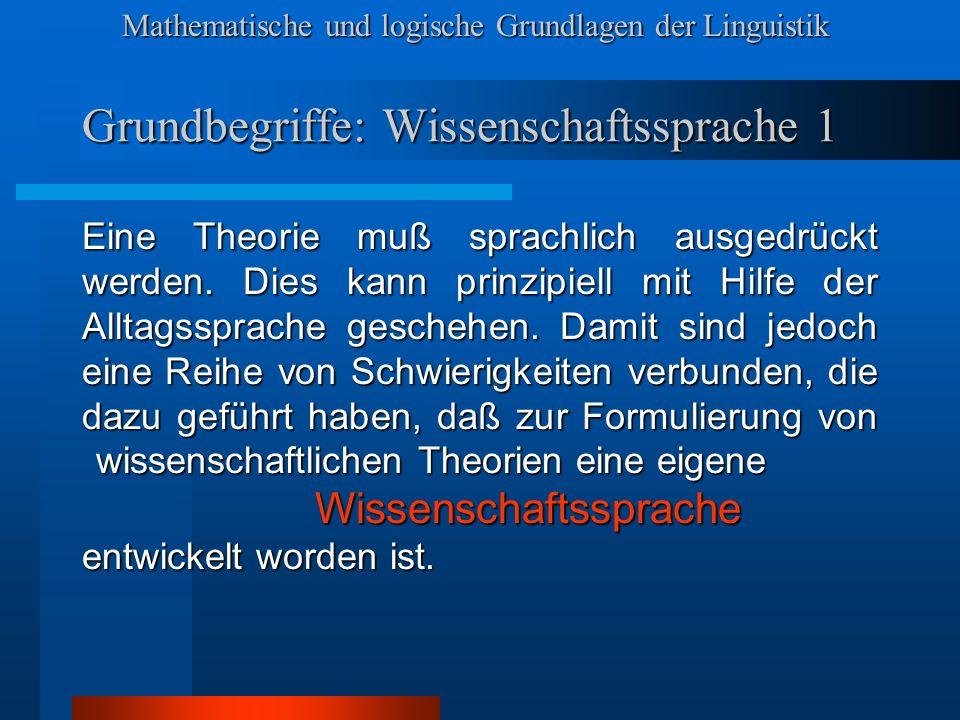 Grundbegriffe: Wissenschaftssprache 1