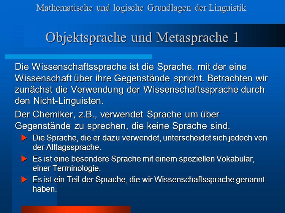 Objektsprache und Metasprache 1