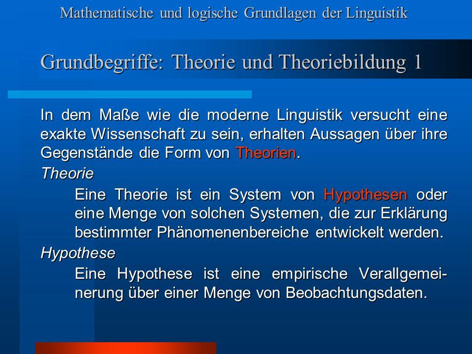 Grundbegriffe: Theorie und Theoriebildung 1