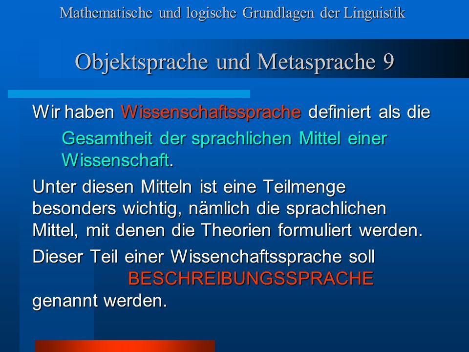 Objektsprache und Metasprache 9