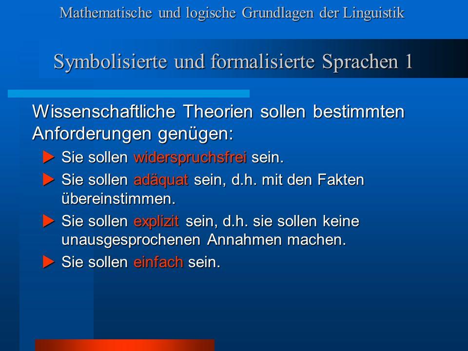 Symbolisierte und formalisierte Sprachen 1