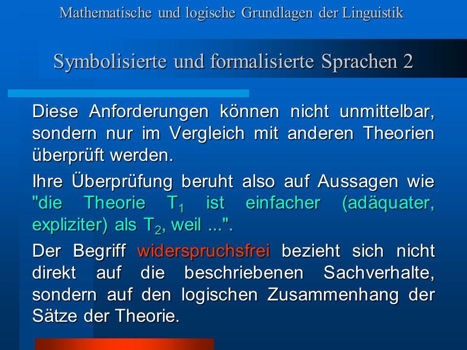 Symbolisierte und formalisierte Sprachen 2