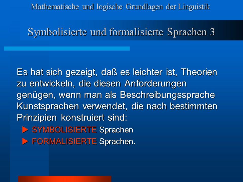 Symbolisierte und formalisierte Sprachen 3