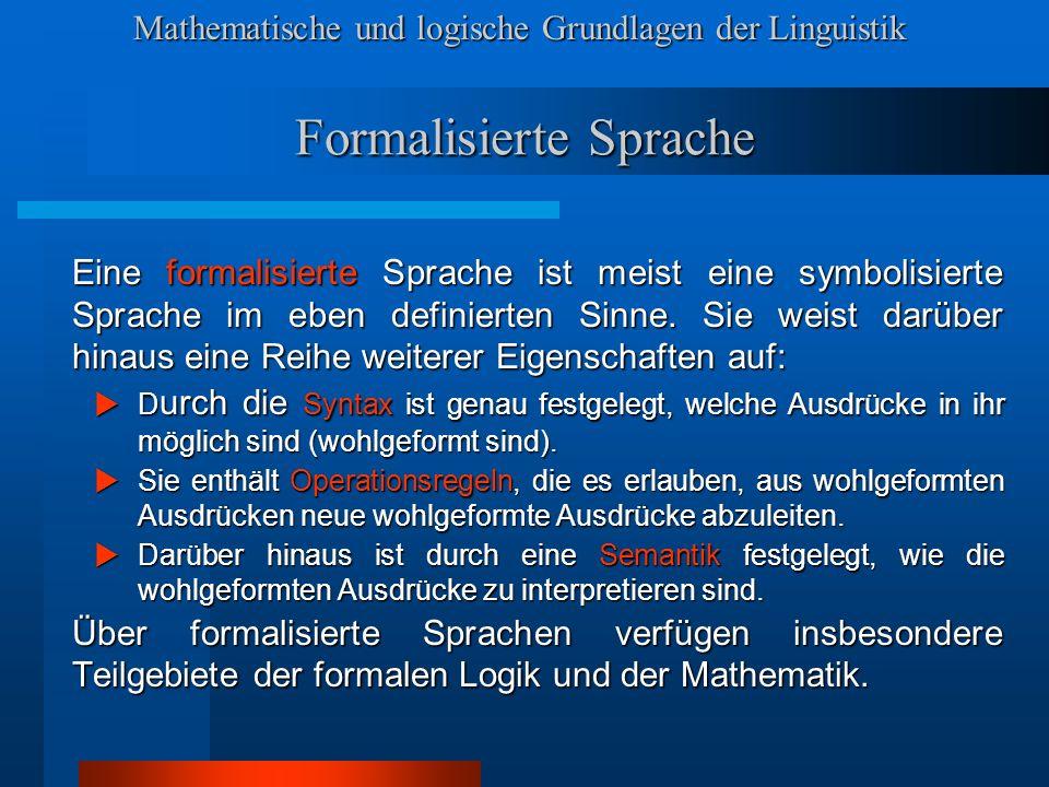 Formalisierte Sprache