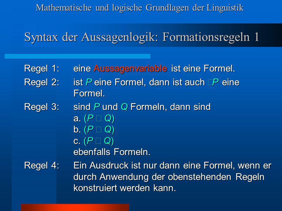 Syntax der Aussagenlogik: Formationsregeln 1