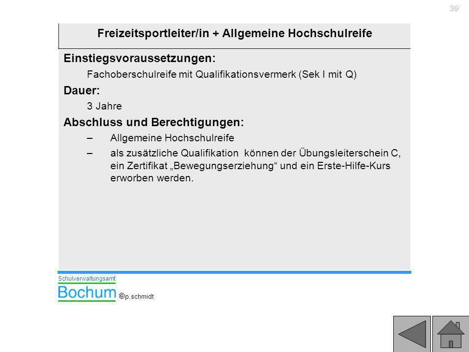 Freizeitsportleiter/in + Allgemeine Hochschulreife