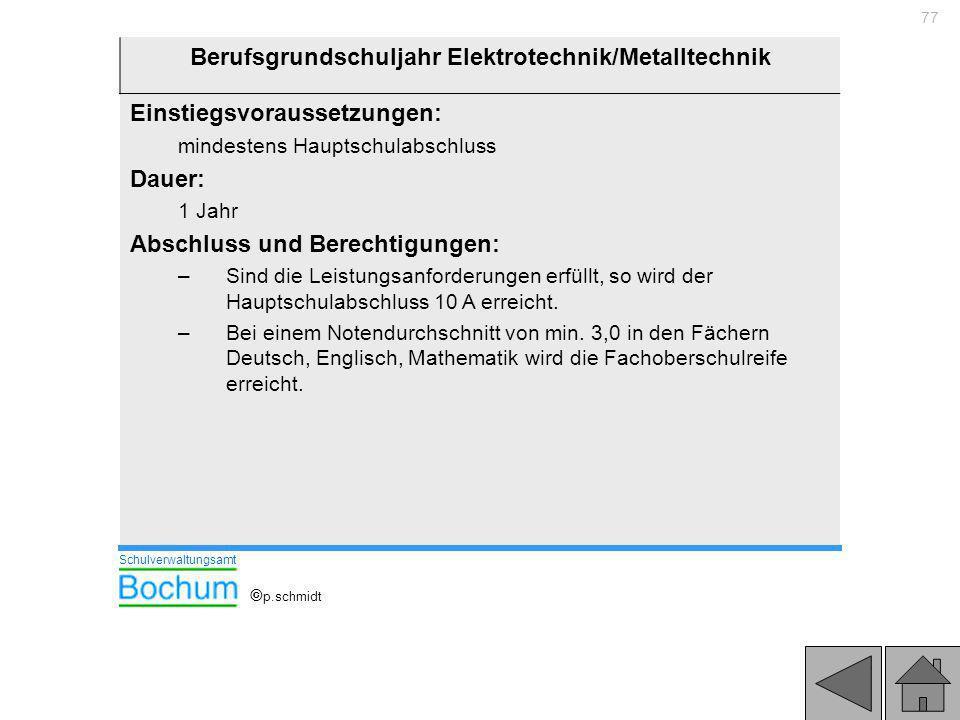 Berufsgrundschuljahr Elektrotechnik/Metalltechnik
