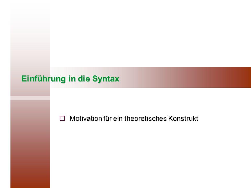 Einführung in die Syntax