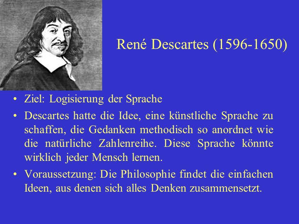 René Descartes (1596-1650) Ziel: Logisierung der Sprache