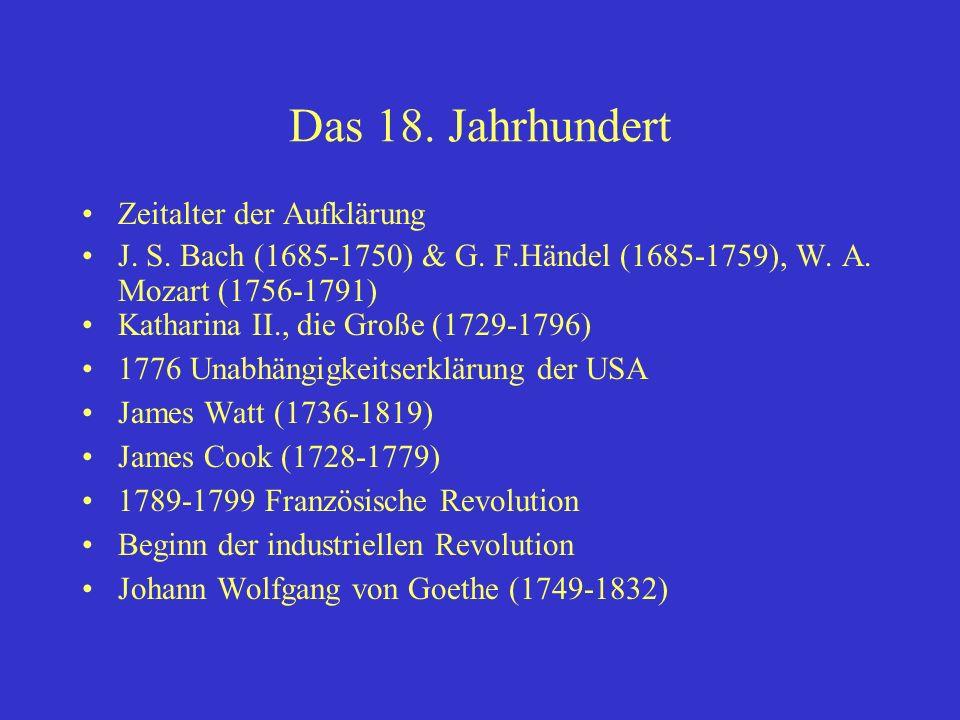 Das 18. Jahrhundert Zeitalter der Aufklärung