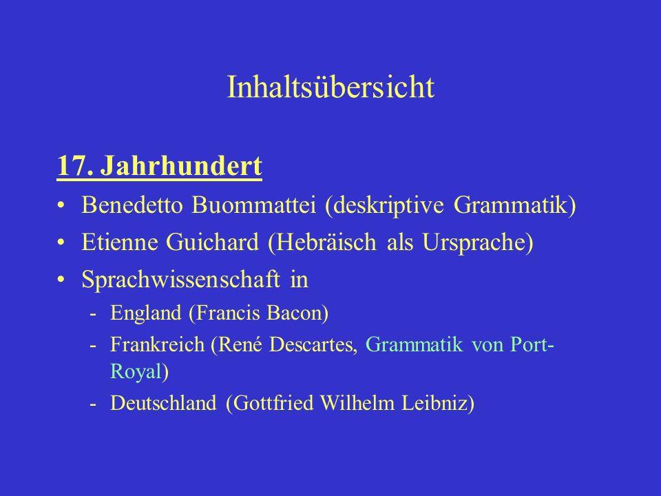Inhaltsübersicht 17. Jahrhundert