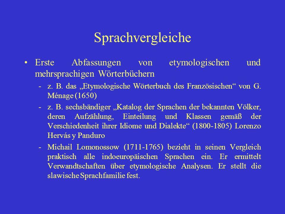 Sprachvergleiche Erste Abfassungen von etymologischen und mehrsprachigen Wörterbüchern.