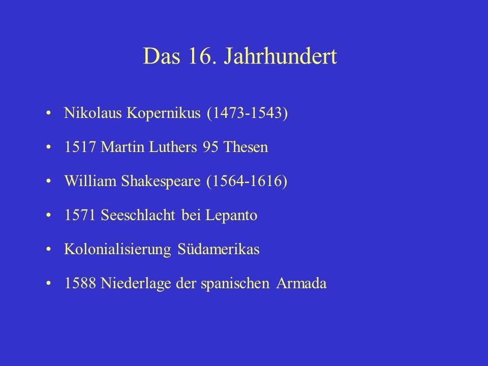 Das 16. Jahrhundert Nikolaus Kopernikus (1473-1543)