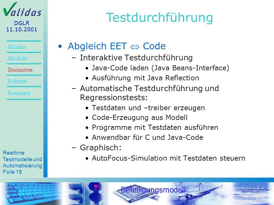 Testdurchführung Abgleich EET  Code Interaktive Testdurchführung