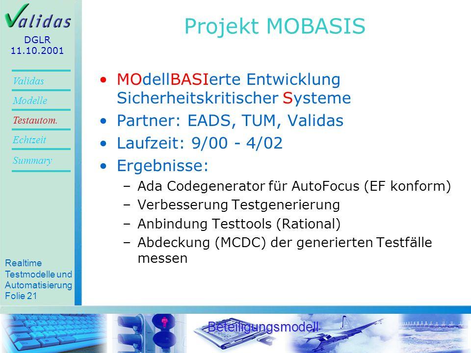 Projekt MOBASIS DGLR. 11.10.2001. MOdellBASIerte Entwicklung Sicherheitskritischer Systeme. Partner: EADS, TUM, Validas.