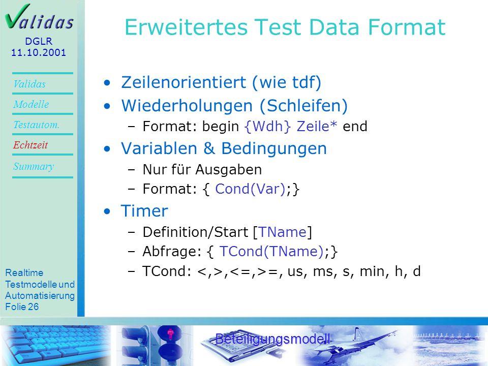 Erweitertes Test Data Format