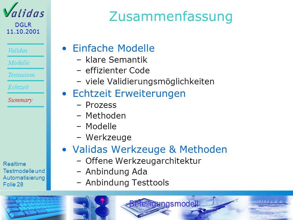 Zusammenfassung Einfache Modelle Echtzeit Erweiterungen