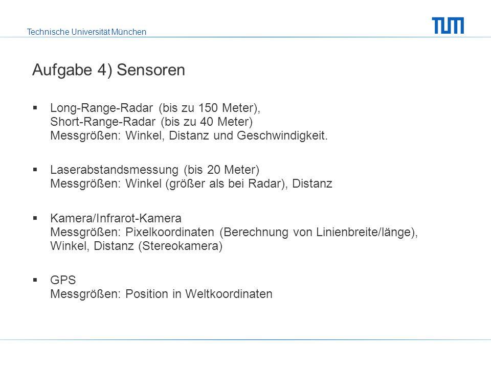 Aufgabe 4) Sensoren Long-Range-Radar (bis zu 150 Meter), Short-Range-Radar (bis zu 40 Meter) Messgrößen: Winkel, Distanz und Geschwindigkeit.