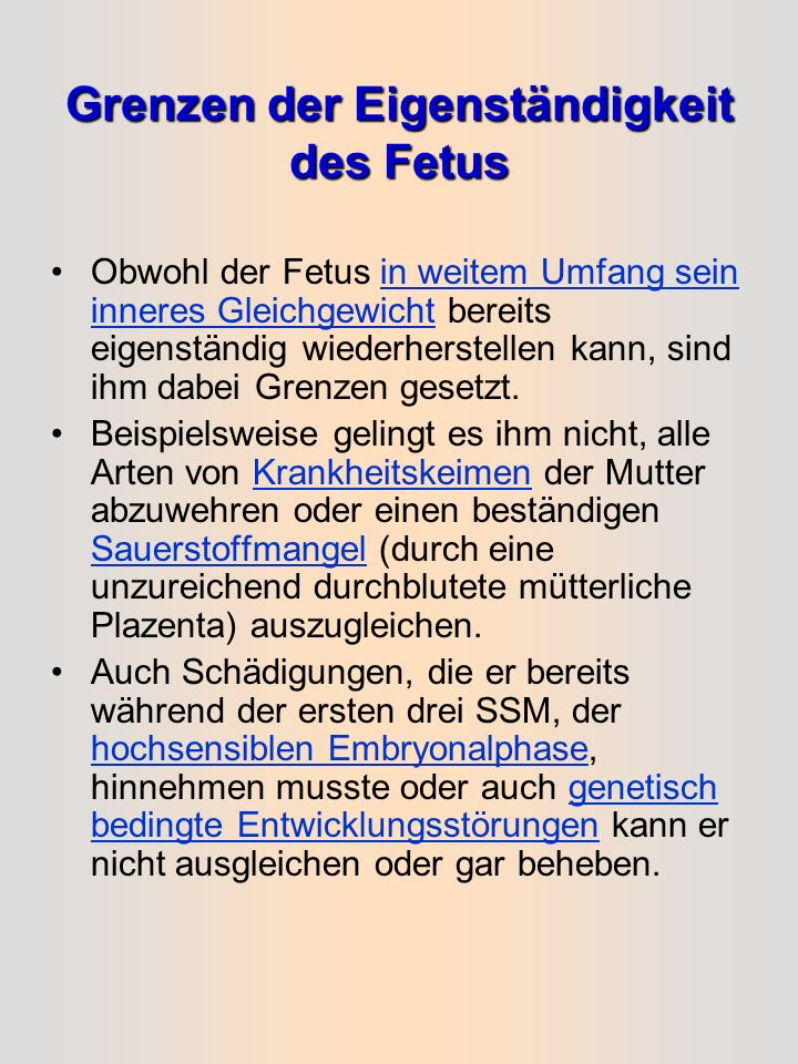 Grenzen der Eigenständigkeit des Fetus
