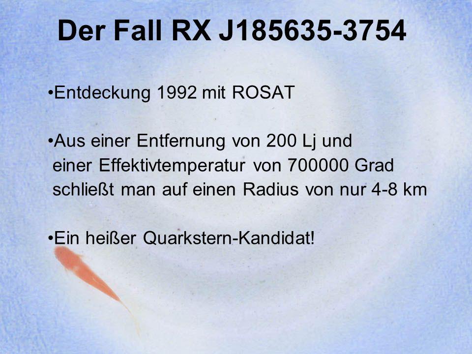 Der Fall RX J185635-3754 Entdeckung 1992 mit ROSAT
