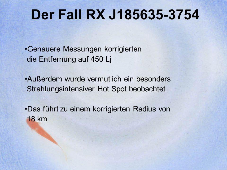 Der Fall RX J185635-3754 Genauere Messungen korrigierten