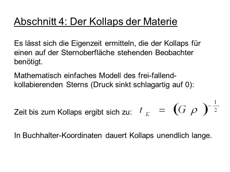Abschnitt 4: Der Kollaps der Materie