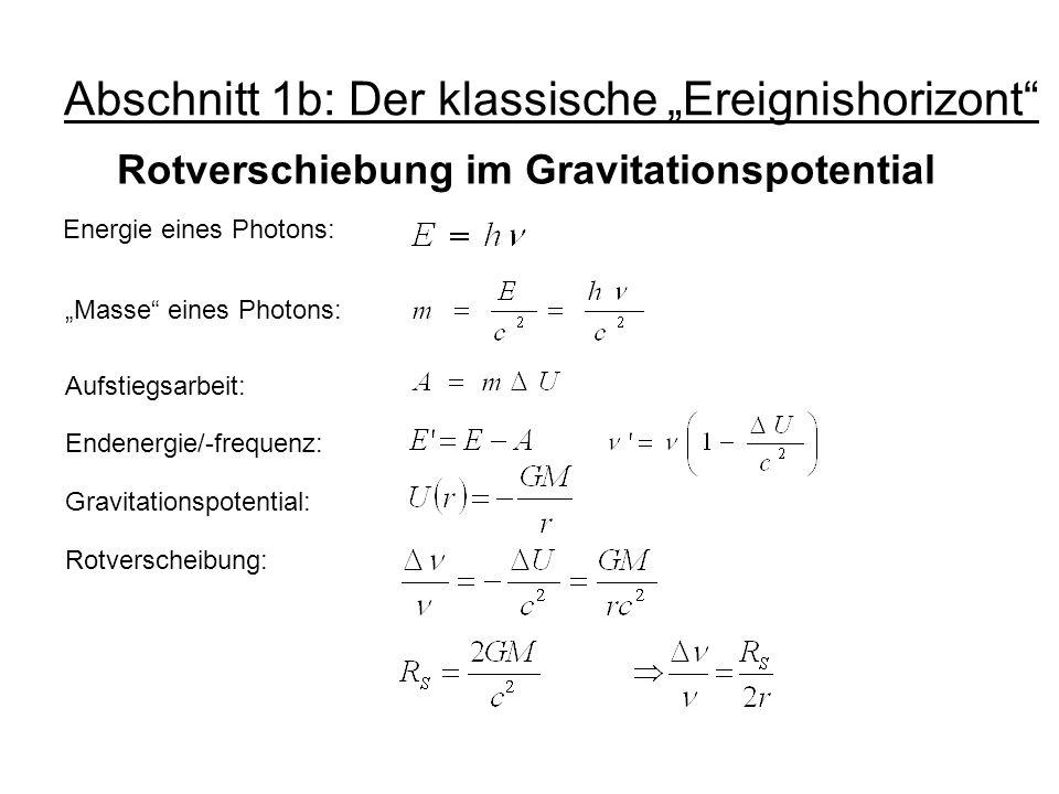 """Abschnitt 1b: Der klassische """"Ereignishorizont"""