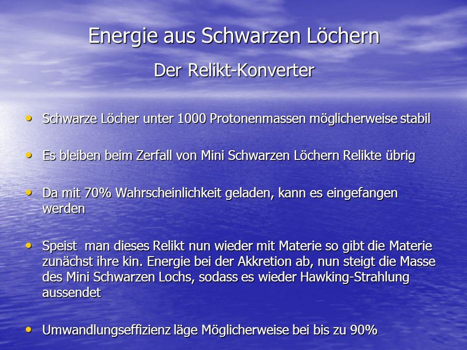 Energie aus Schwarzen Löchern Der Relikt-Konverter