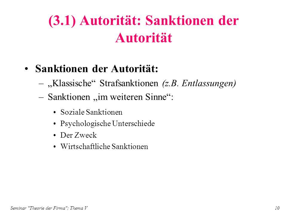 (3.1) Autorität: Sanktionen der Autorität