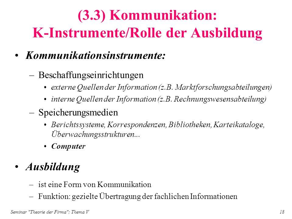 (3.3) Kommunikation: K-Instrumente/Rolle der Ausbildung
